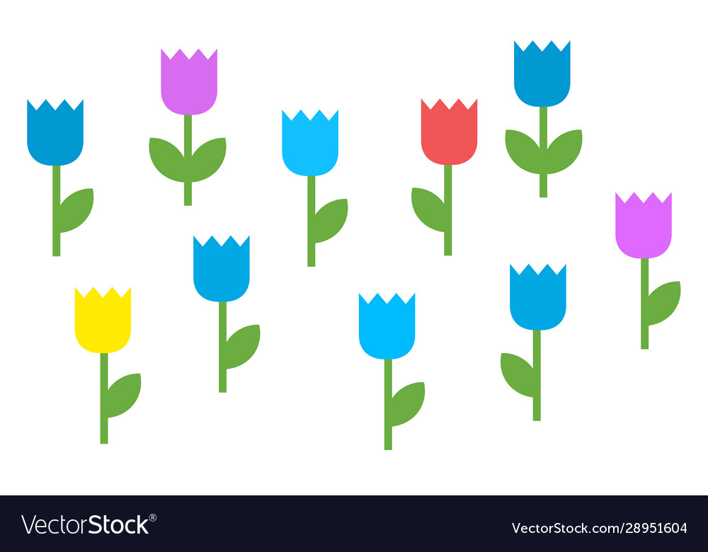 Colorful blooming flowers icon flat isolated