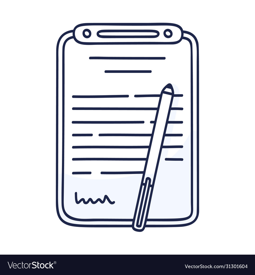 Contract document icon in doodle style hand drawn