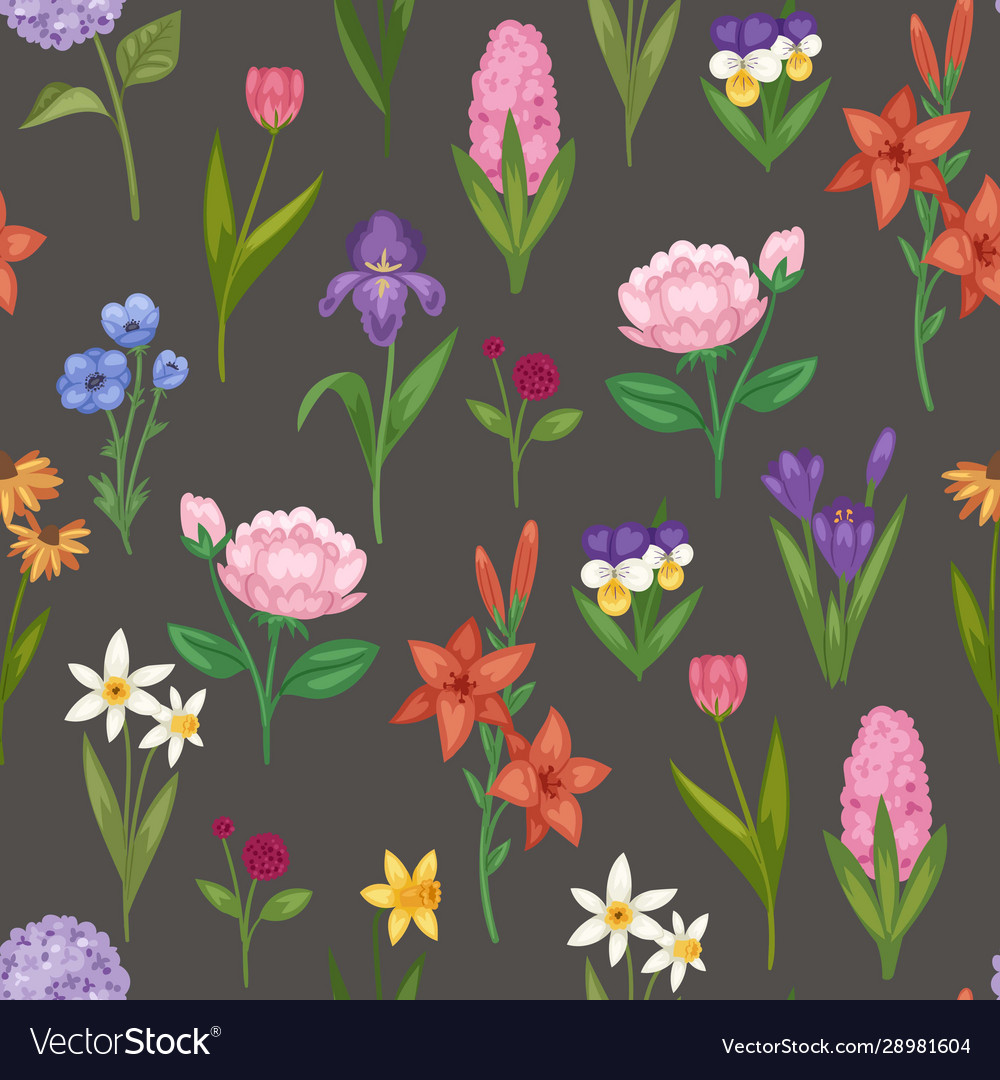 Floral seamless pattern with field and garden
