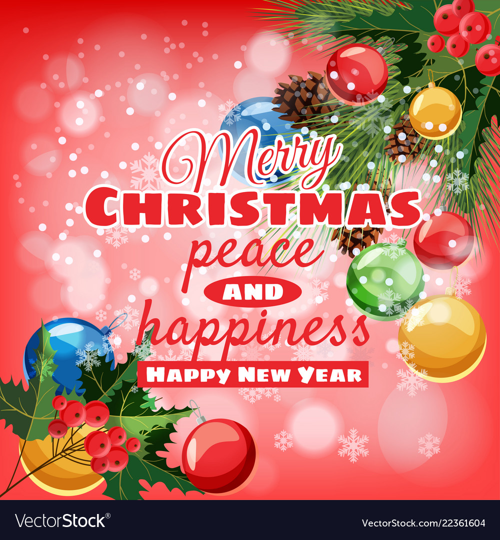 Greeting card merry christmas and happy new year