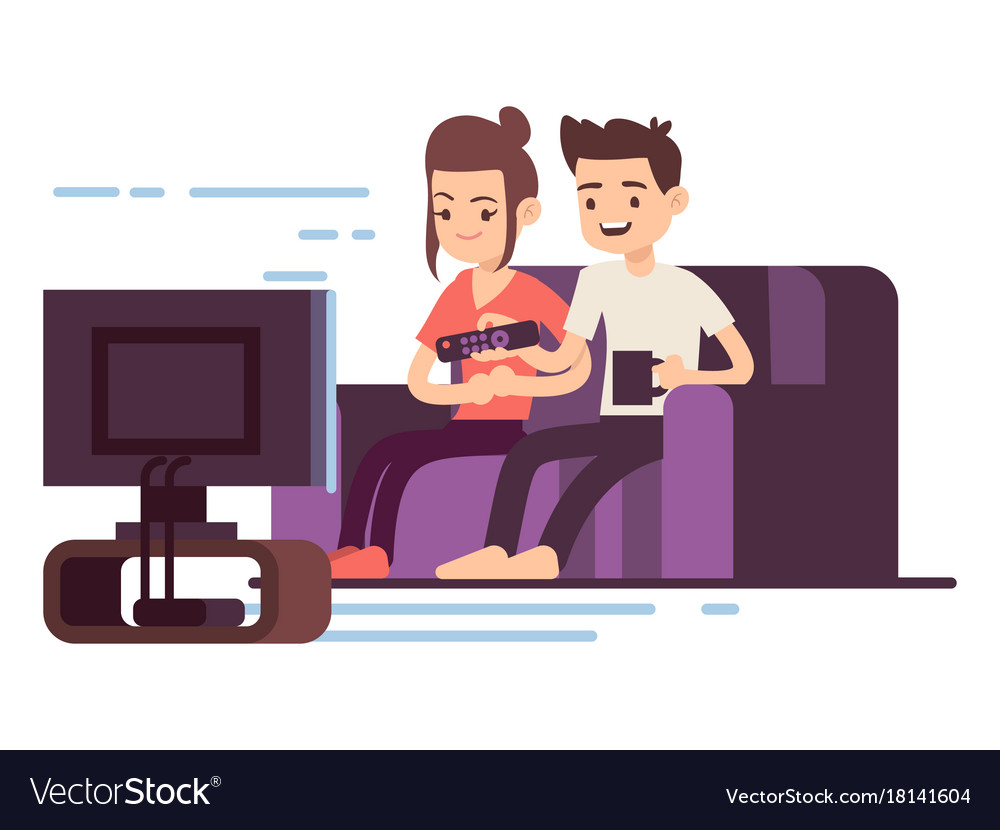happy young couple watch tv royalty free vector image