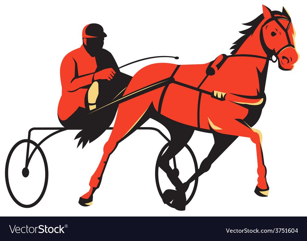 Harness horse cart racing retro