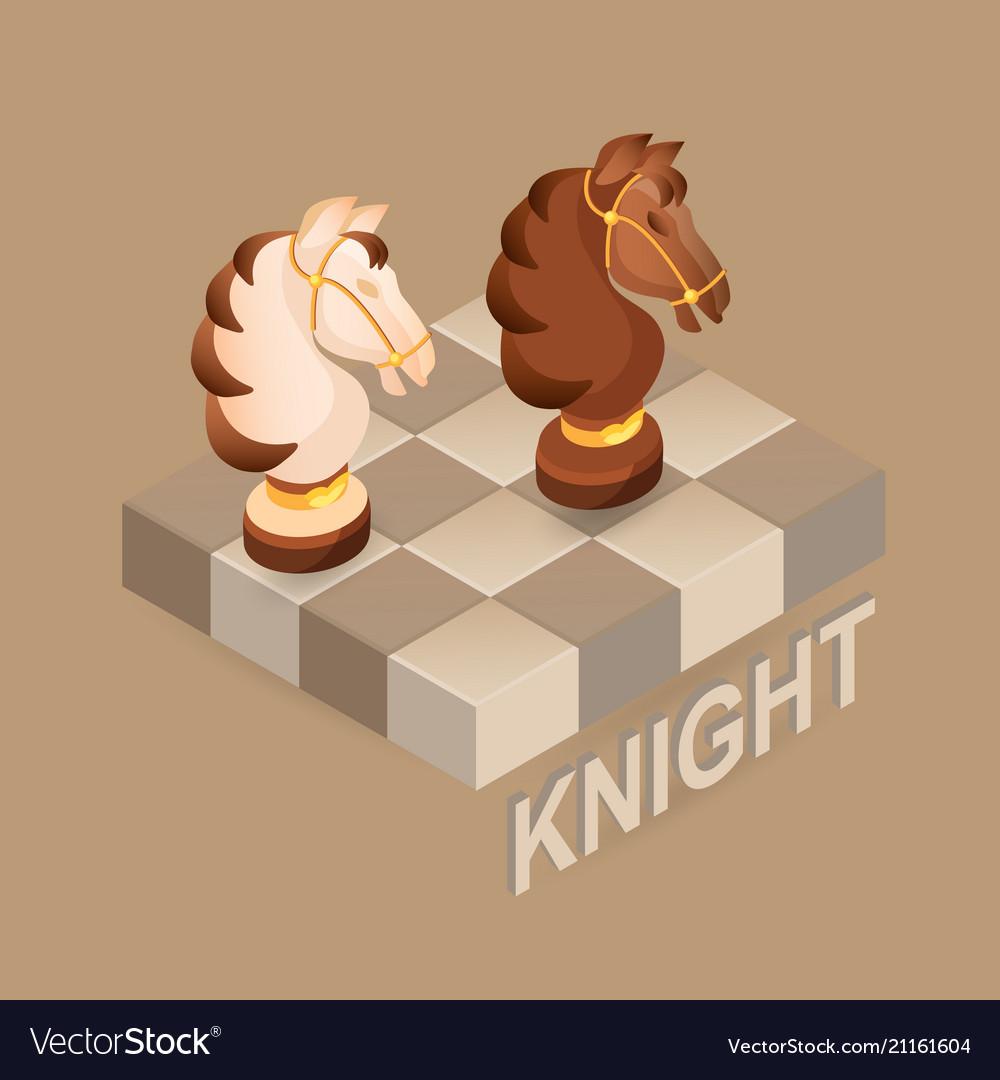 Isometric cartoon chess pieces knight fla vector image