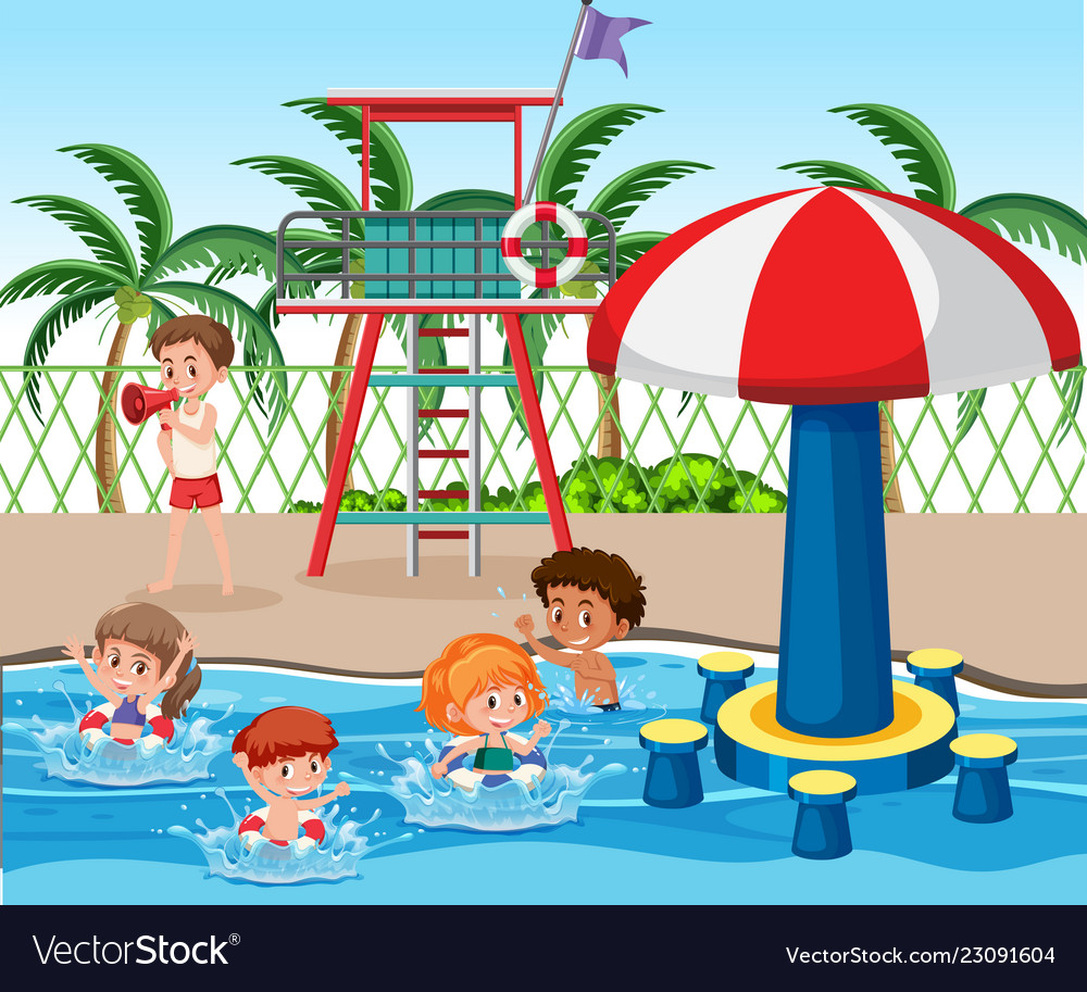 Kids at swimming pool Royalty Free Vector Image