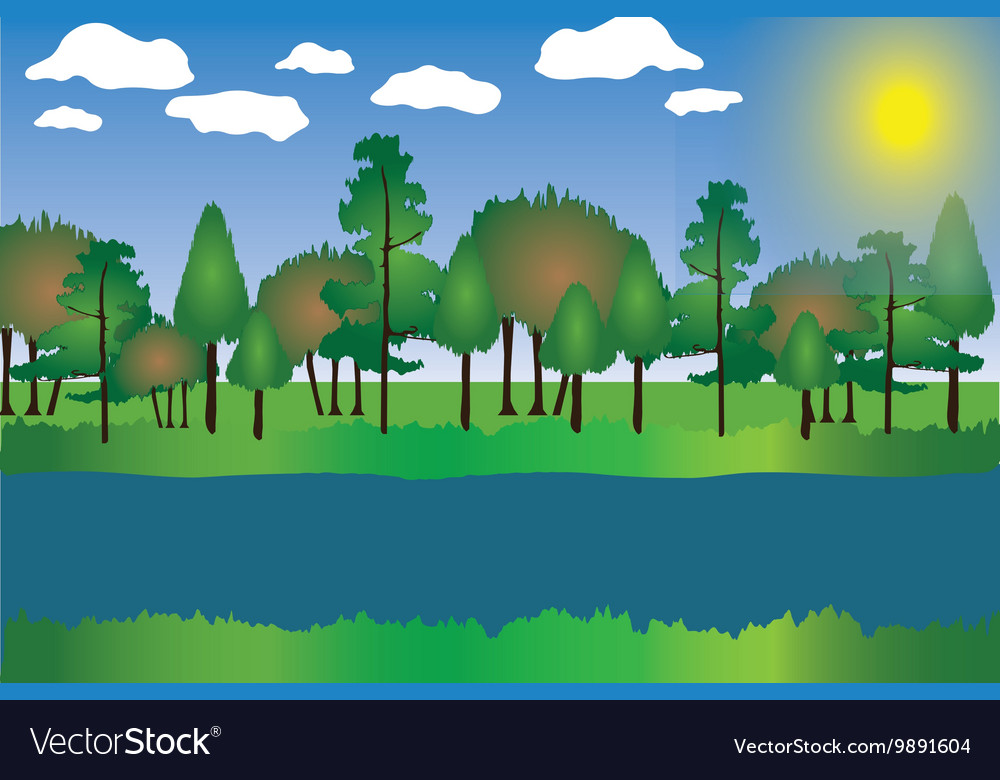 Landscape Cartoon with Trees