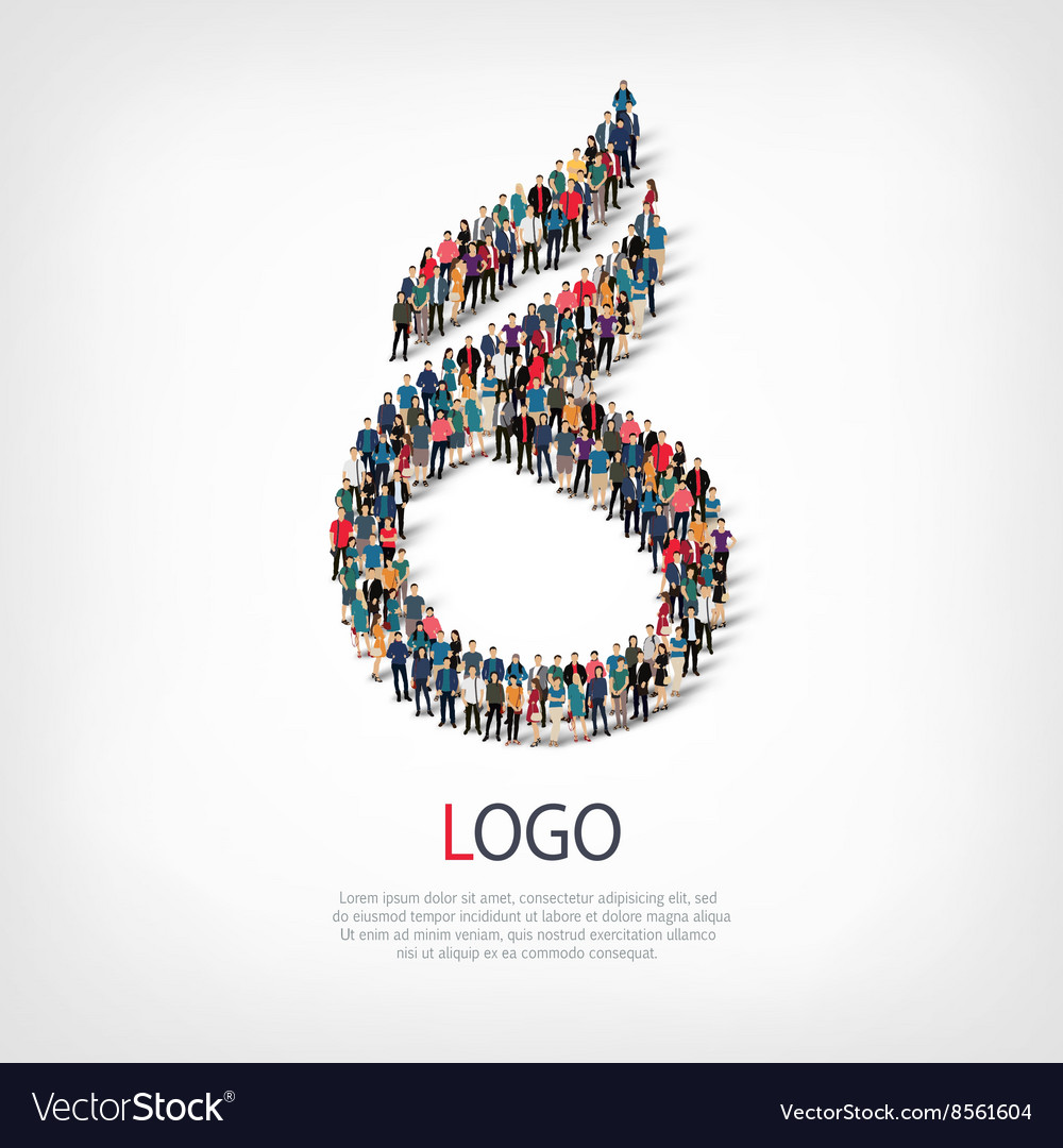 Logo people sign 3d