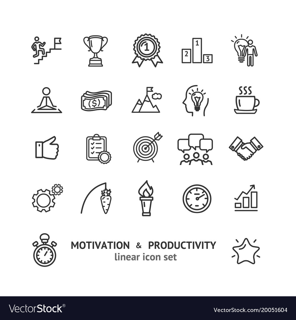 Motivation and productivity signs black thin line