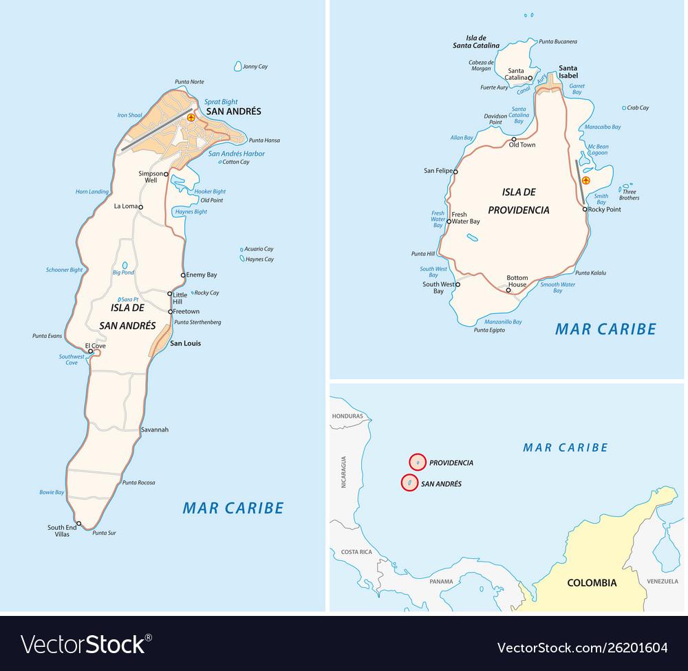 San andres providencia and santa catalina road map