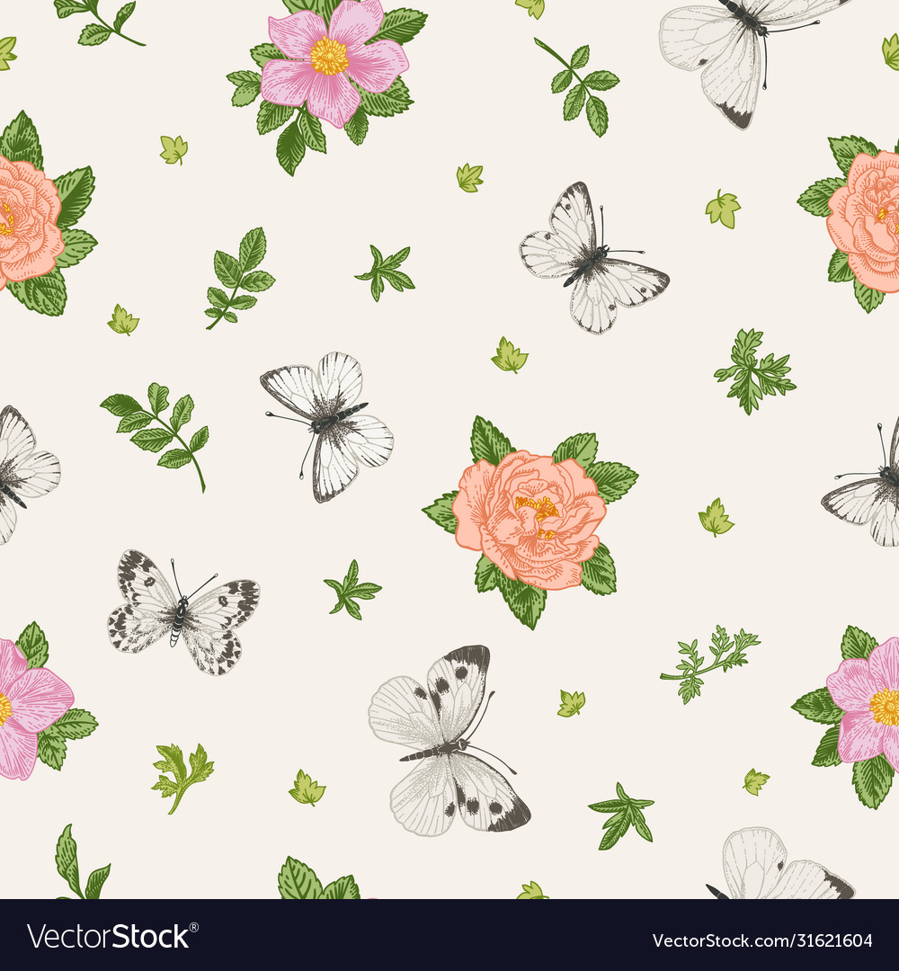 Seamless floral pattern with butterflies