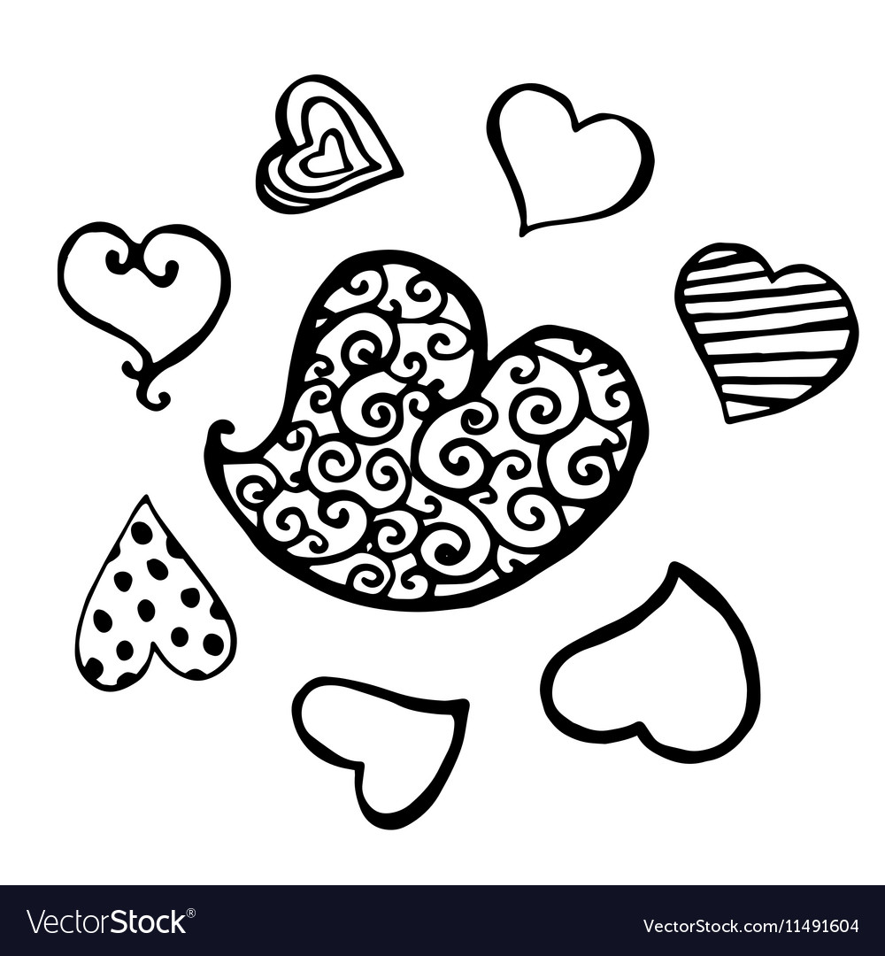 Set of black heart sketch isolated vector image