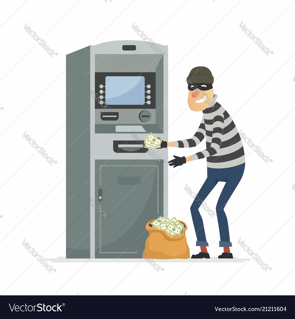 Thief stealing money from atm- cartoon people