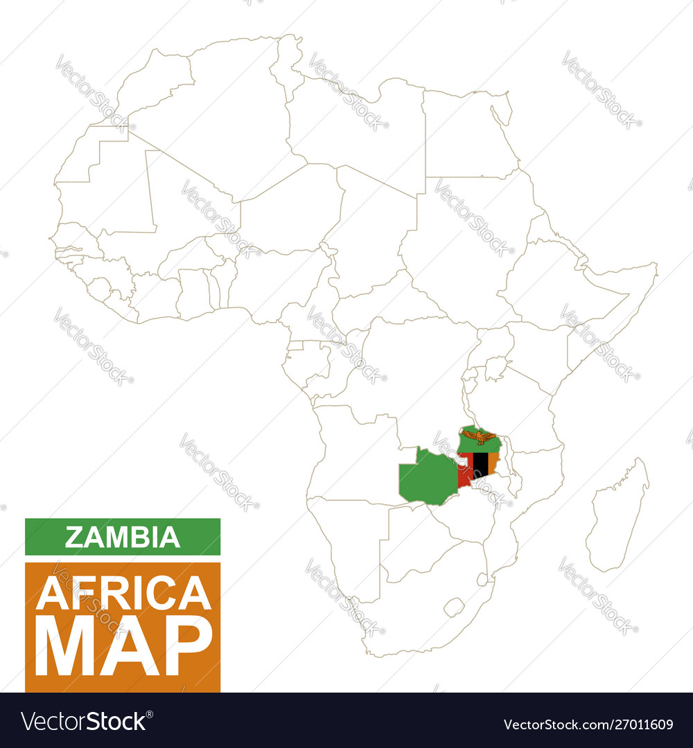 Zambia Map Of Africa.Africa Contoured Map With Highlighted Zambia