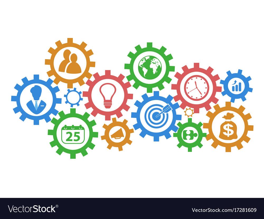 Business mechanism gears background