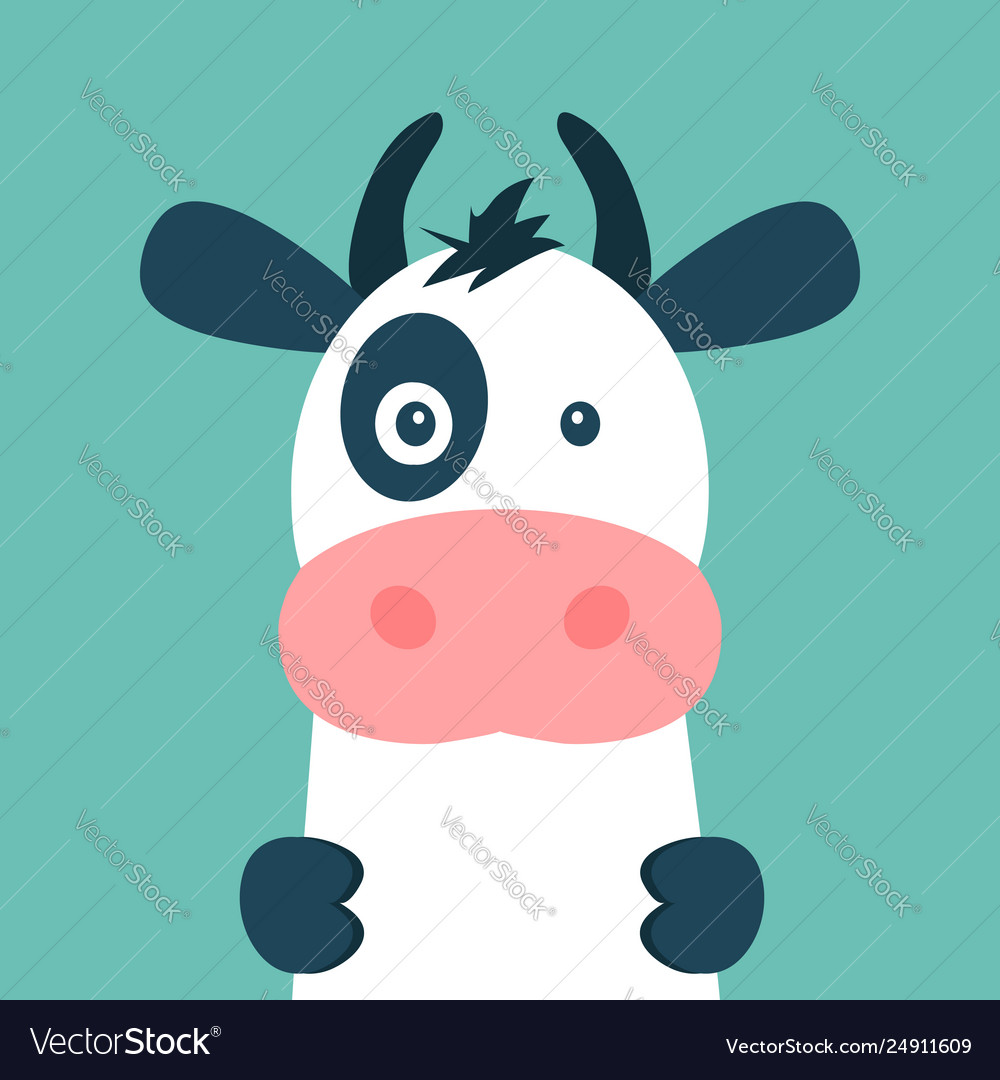 Cute cow isolated on blue background