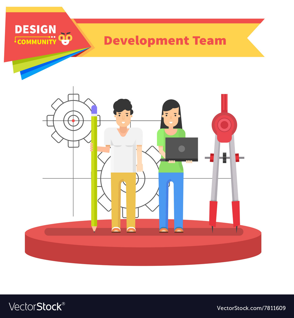 Development Team People Design Flat vector image