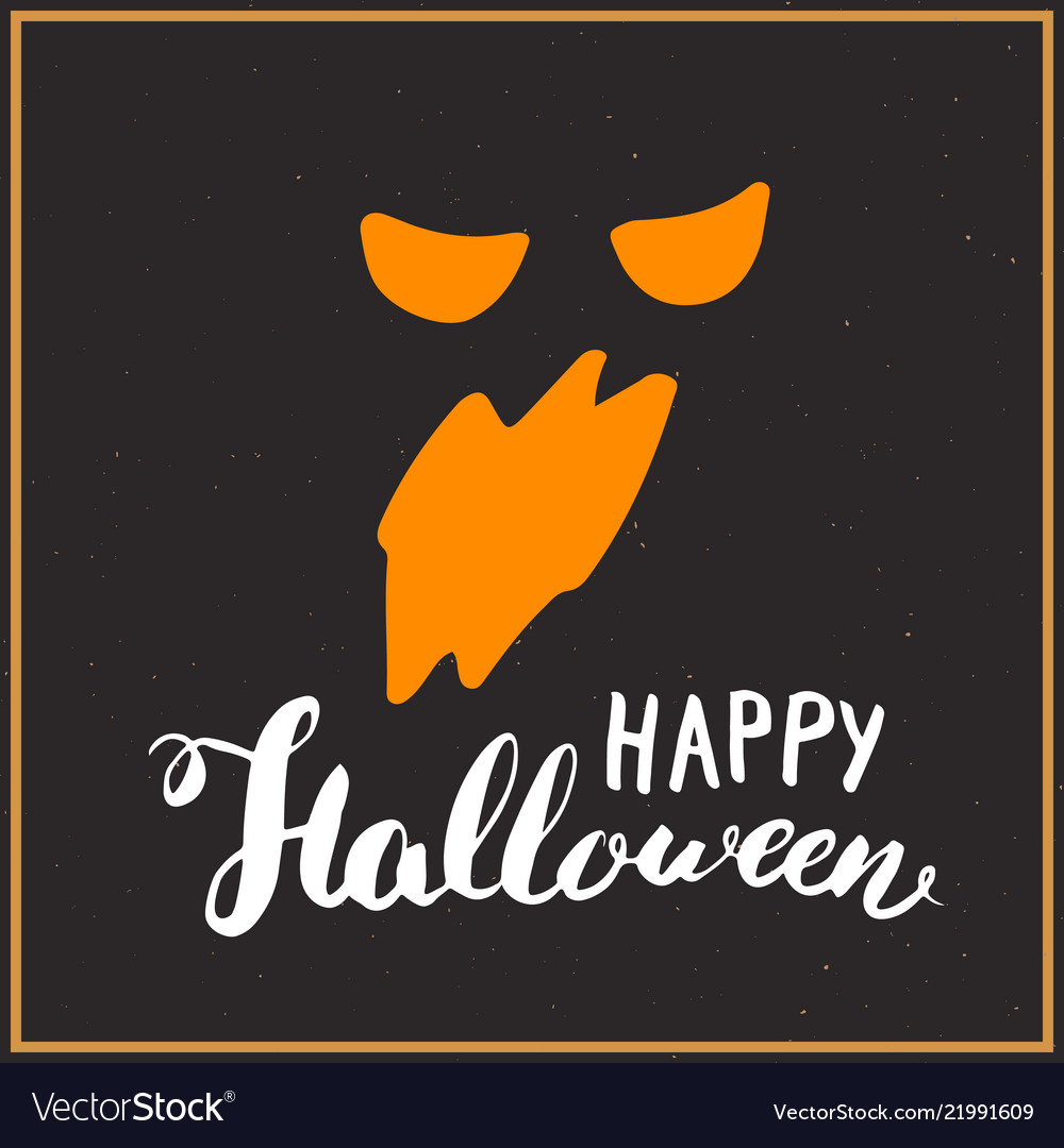 Halloween greeting card lettering calligraphy