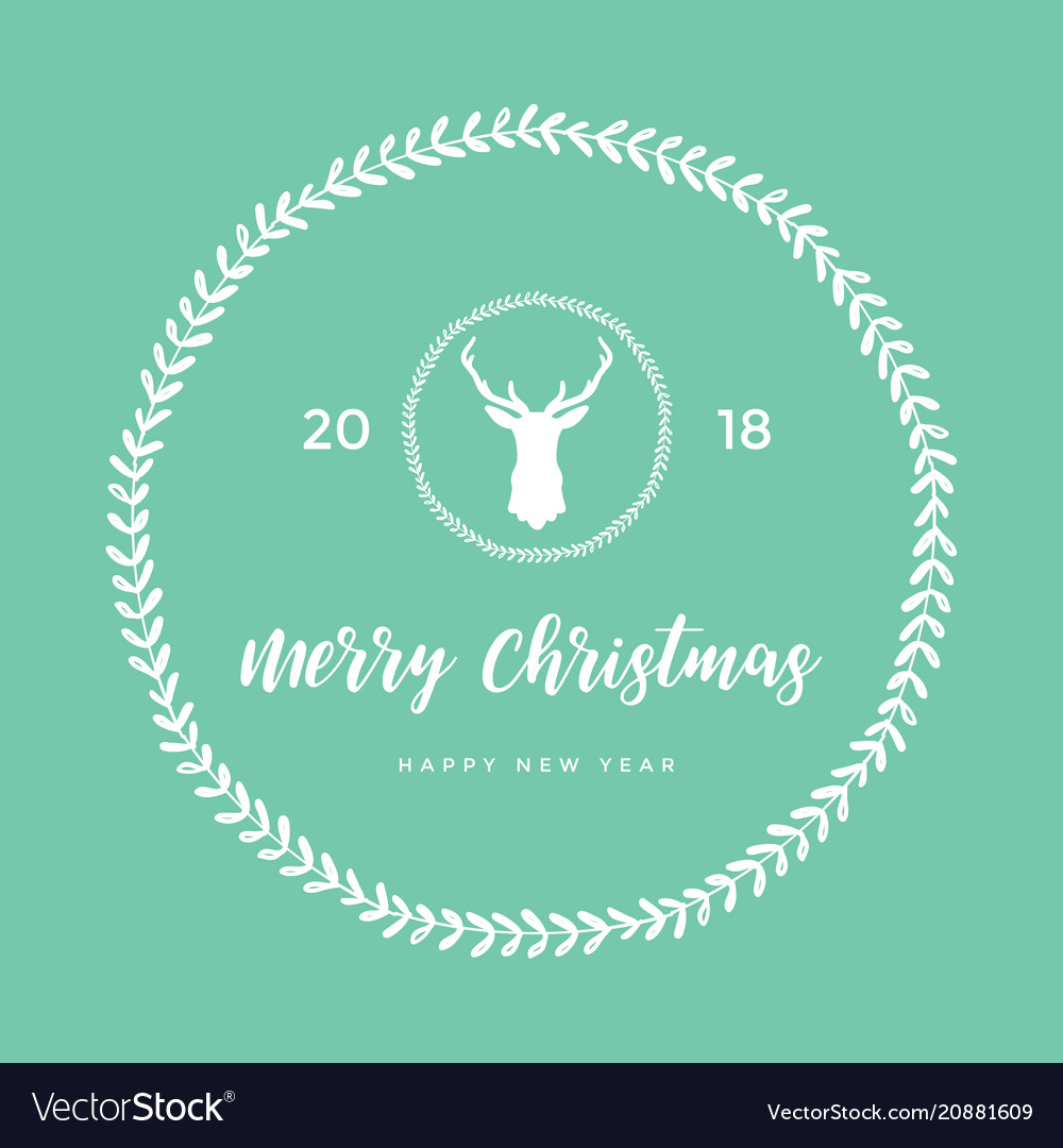 Merry christmas and happy new year with reindeer