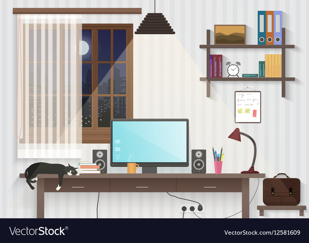 Modern teenager guy room with workplace Male man