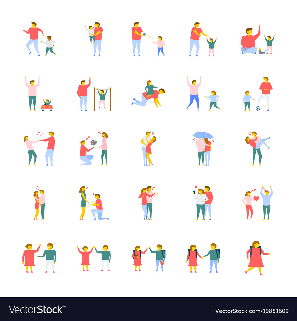 People flat icons pack
