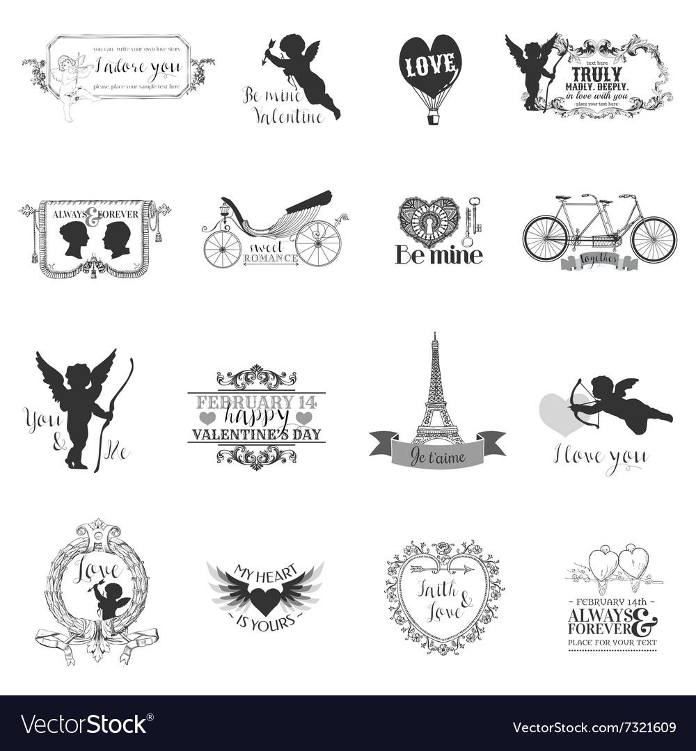 Scrapbook Design Elements - Valentines Love Set