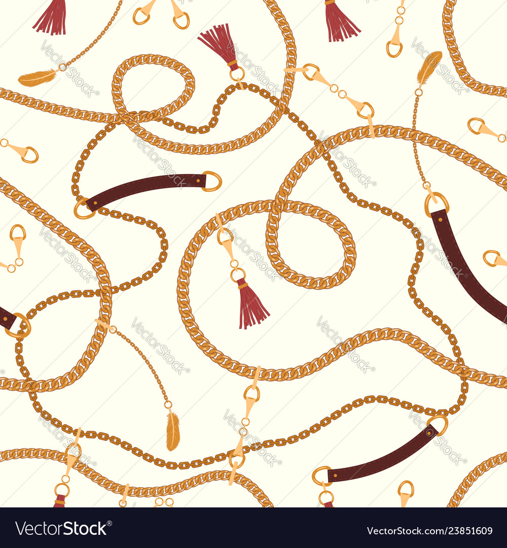 Seamless pattern with chains straps and belts