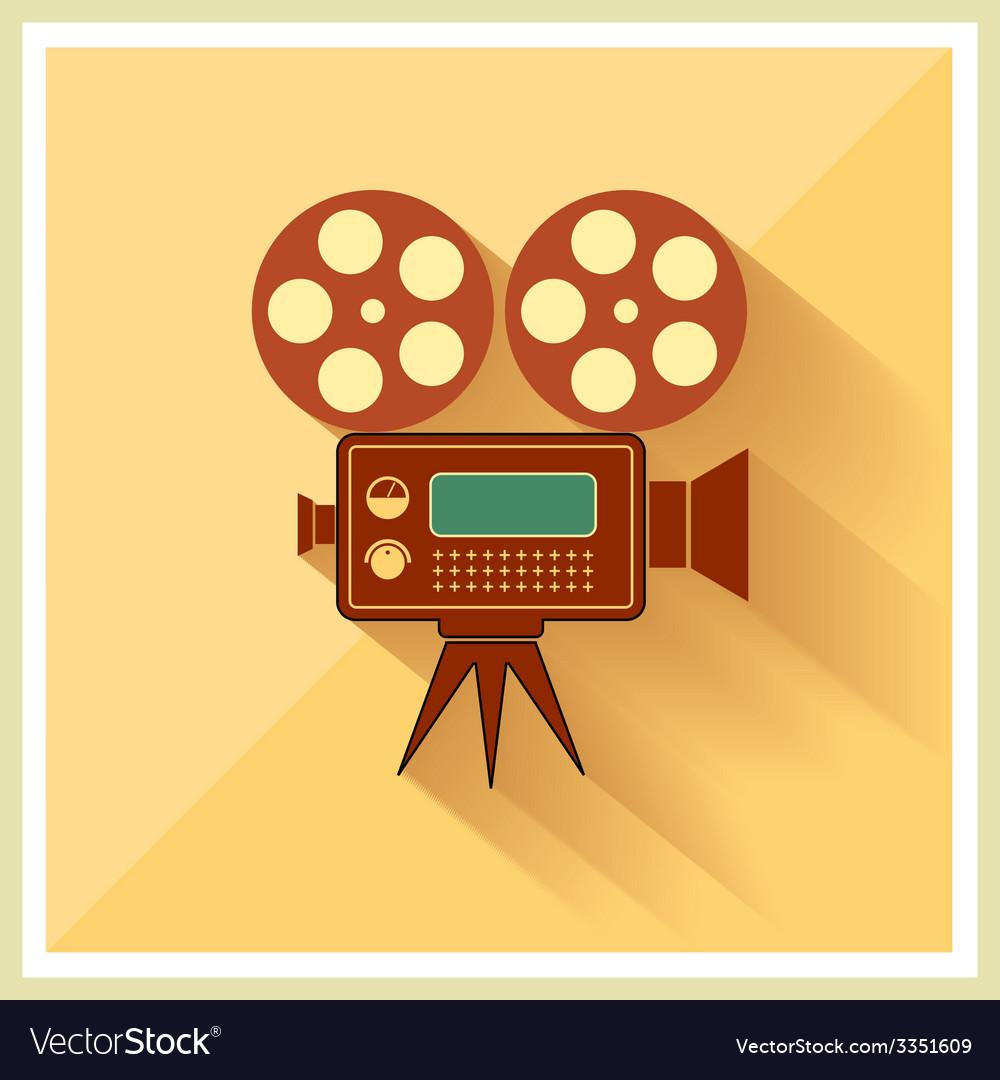 Video Movie Camera on Retro Background