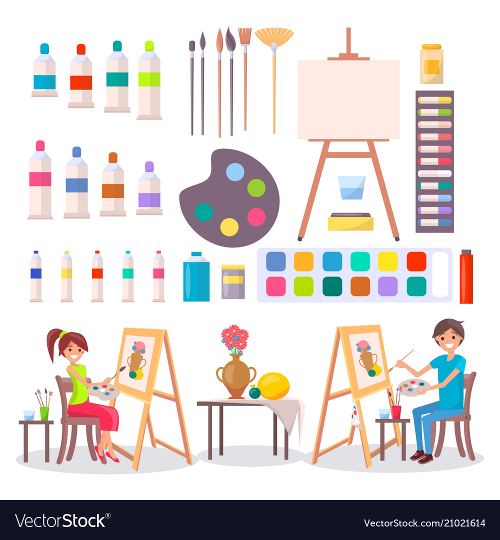 Art supplies and artists isolated