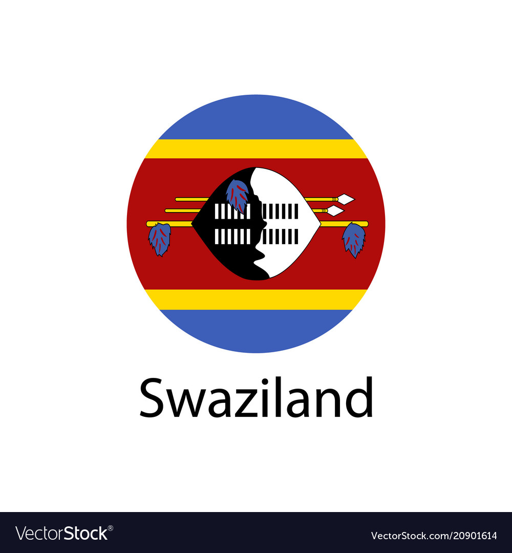 Flag of swaziland button with metal frame and