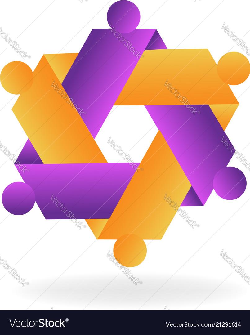 Hexagon abstract teamwork icon