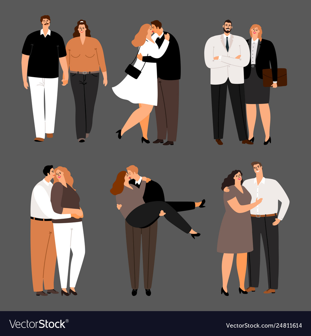 In love couples plus size women and men