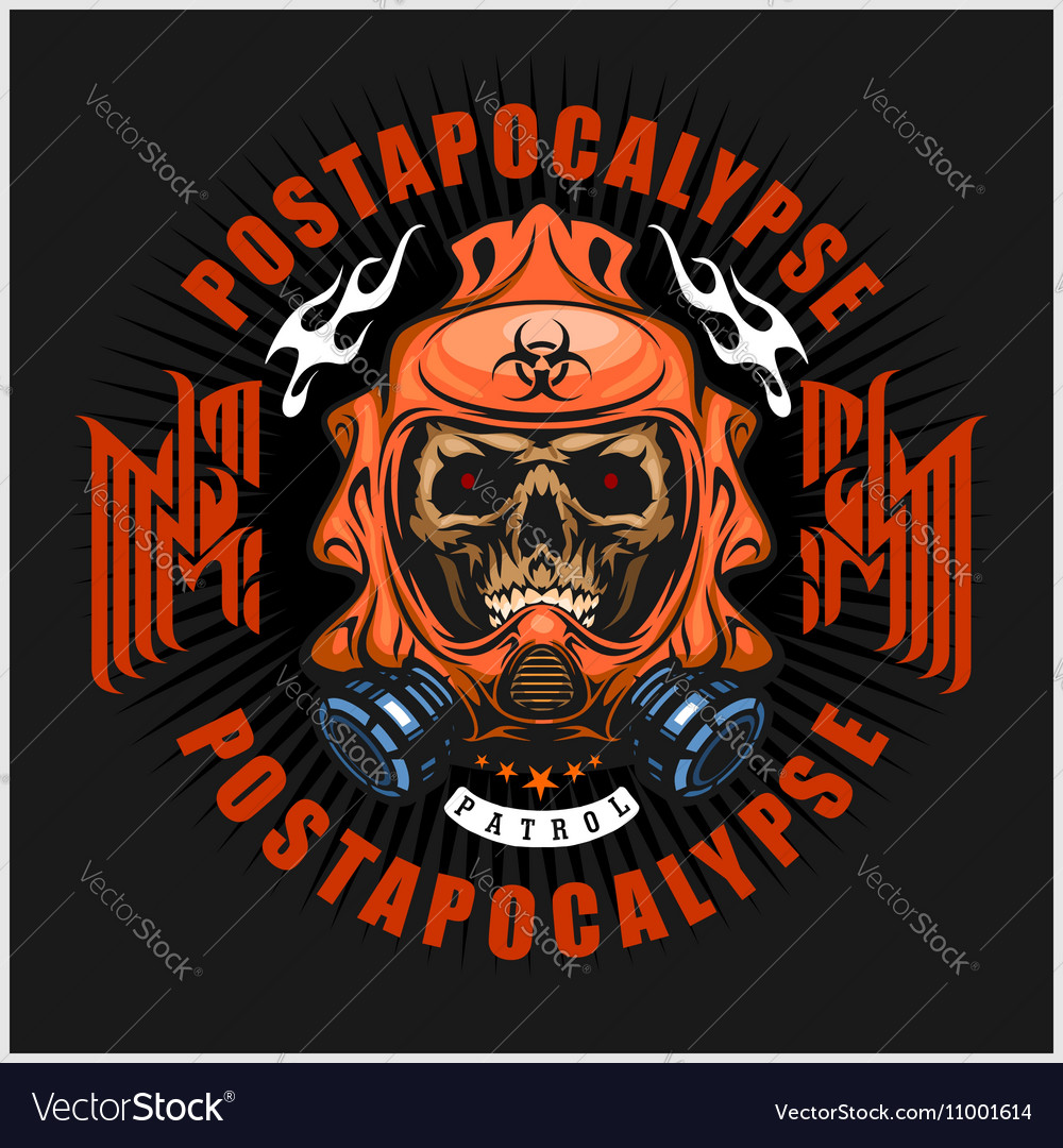 Industrialpost-apocalypse coat of arms with skull vector image