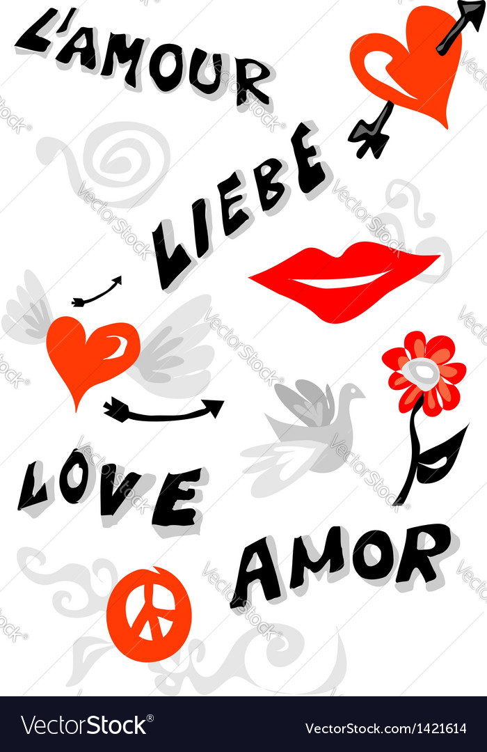 Love icons poster vector image