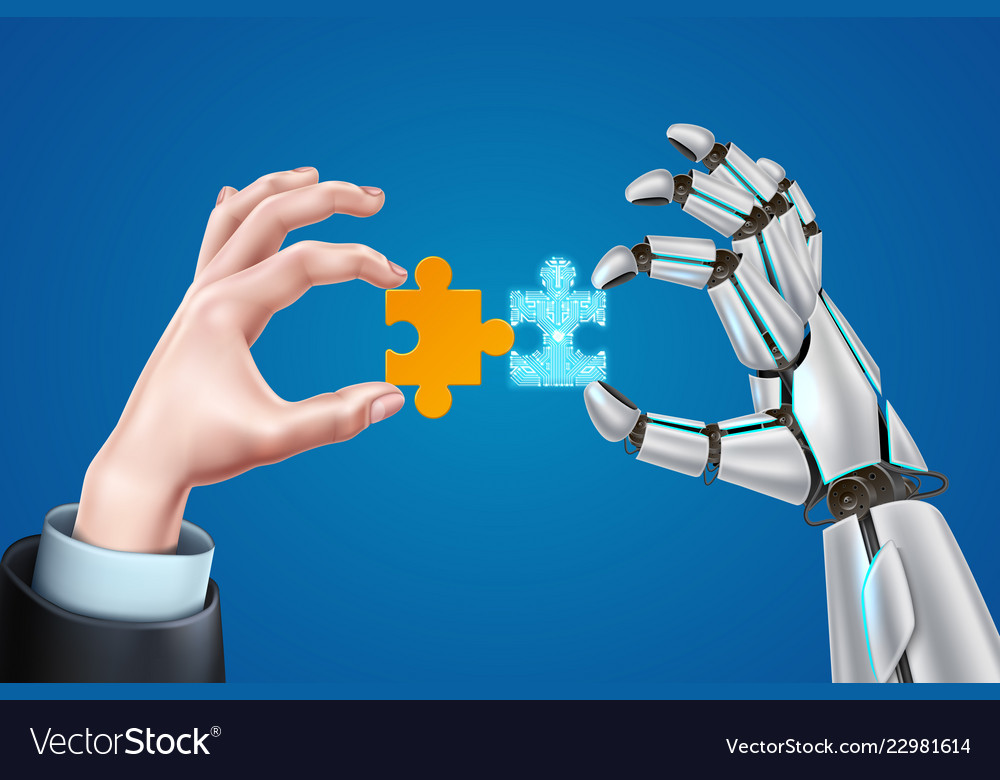 Robot business man hands with puzzle