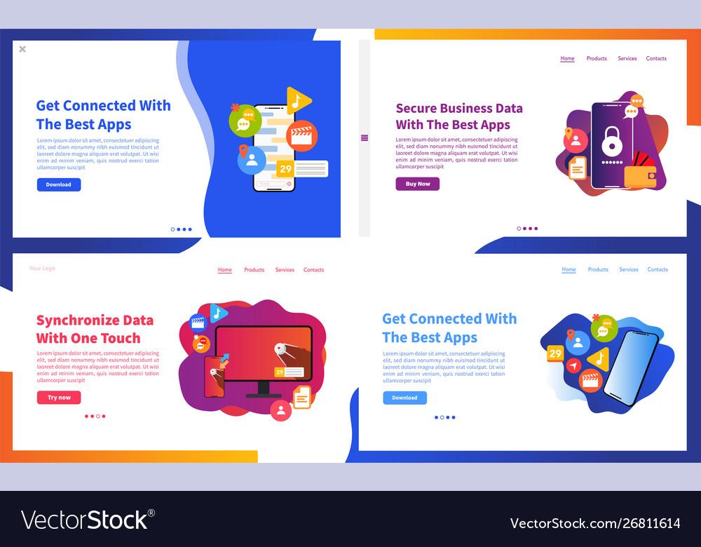 Set creative website template concepts ui