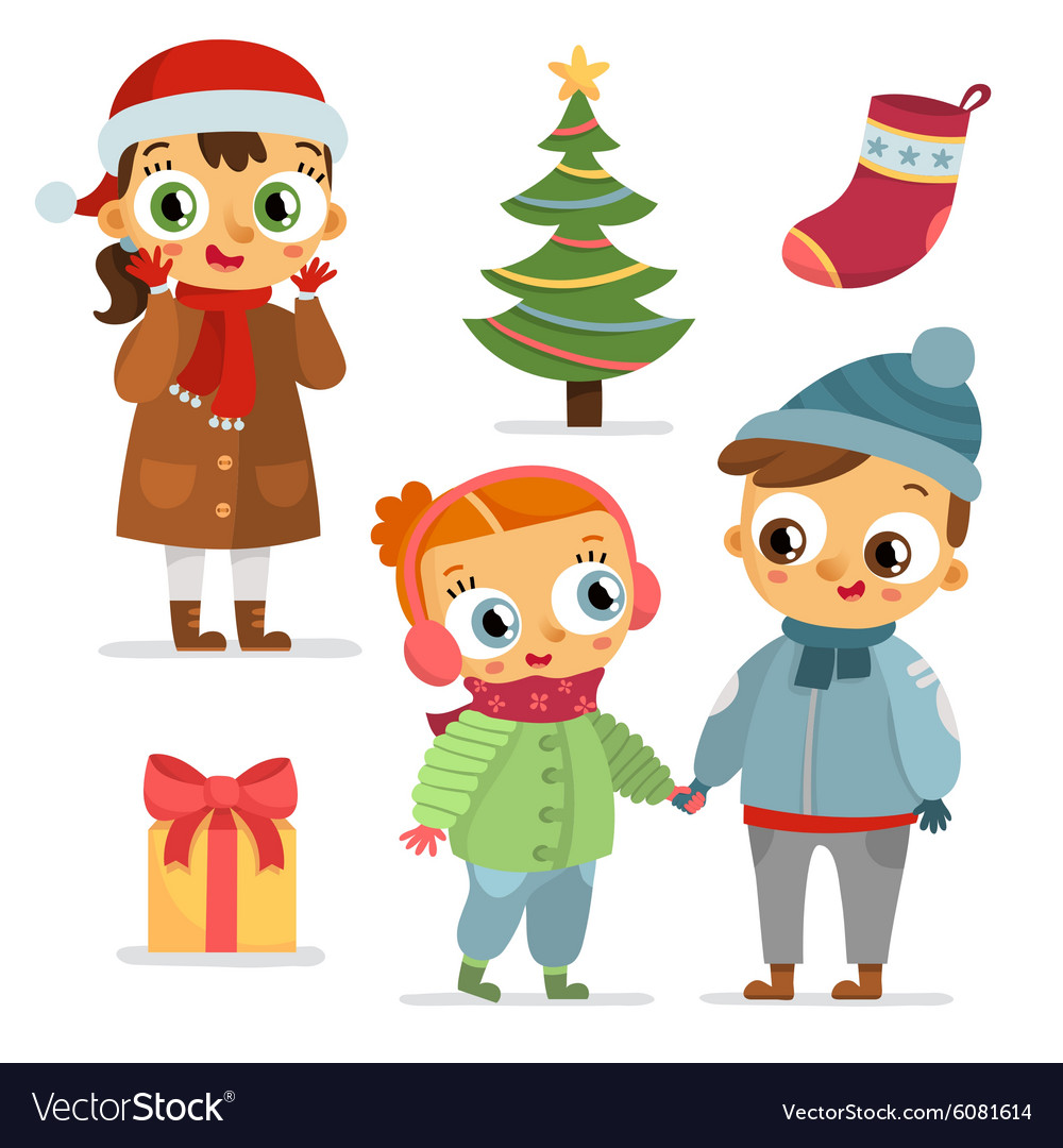 Set of children characters and christmas symbols
