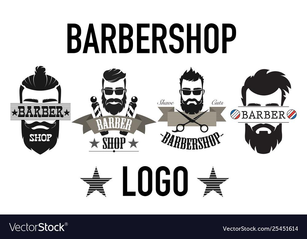 Vintage retro barbershop logo label emblem and