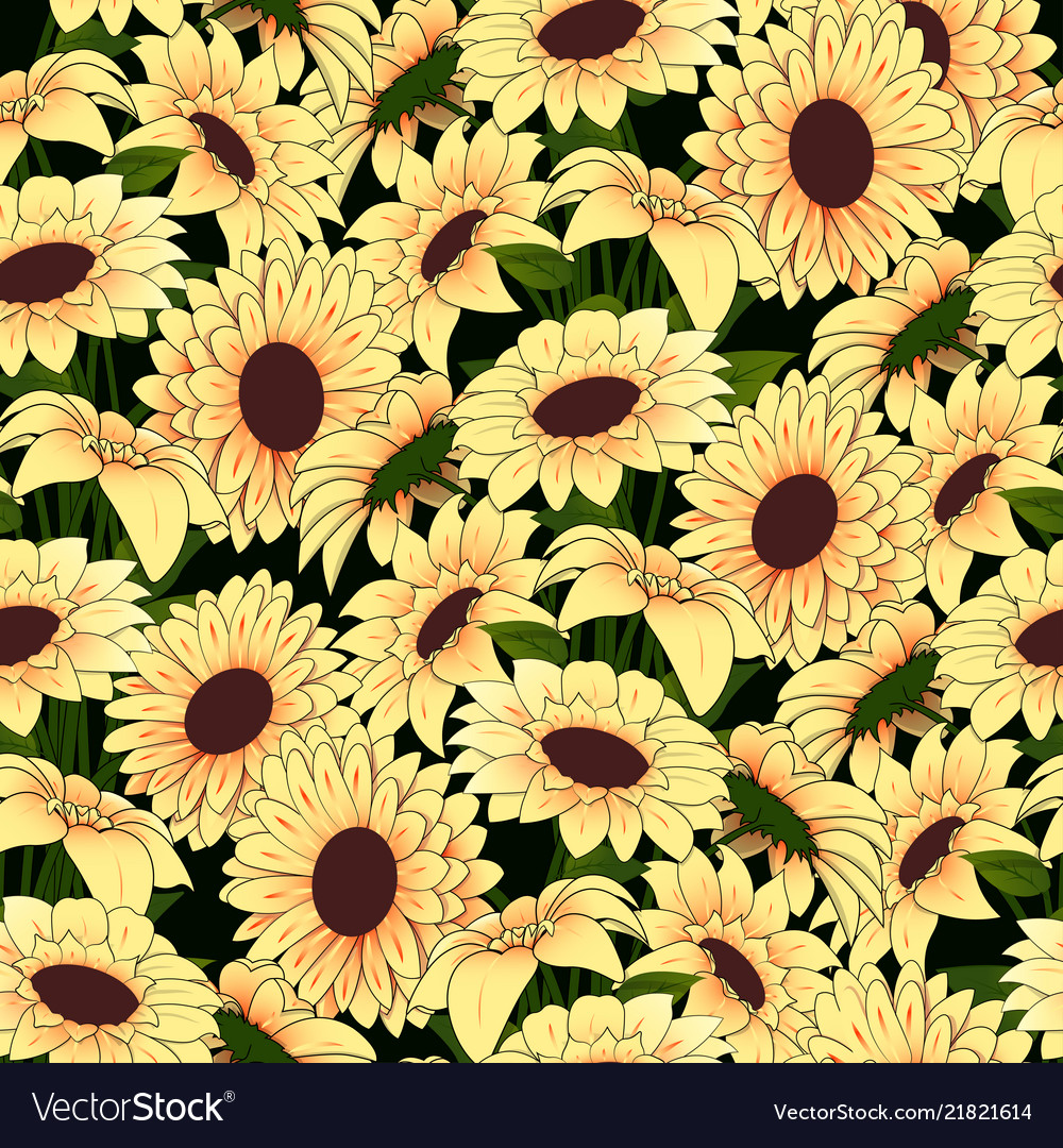 Yellow flowers in a yellow vase pattern on a dark vector image mightylinksfo