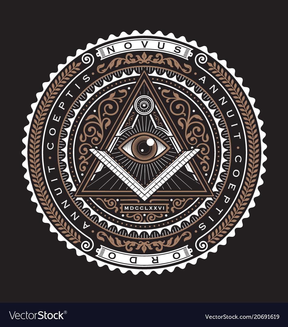 All seeing eye emblem badge logo 2 color