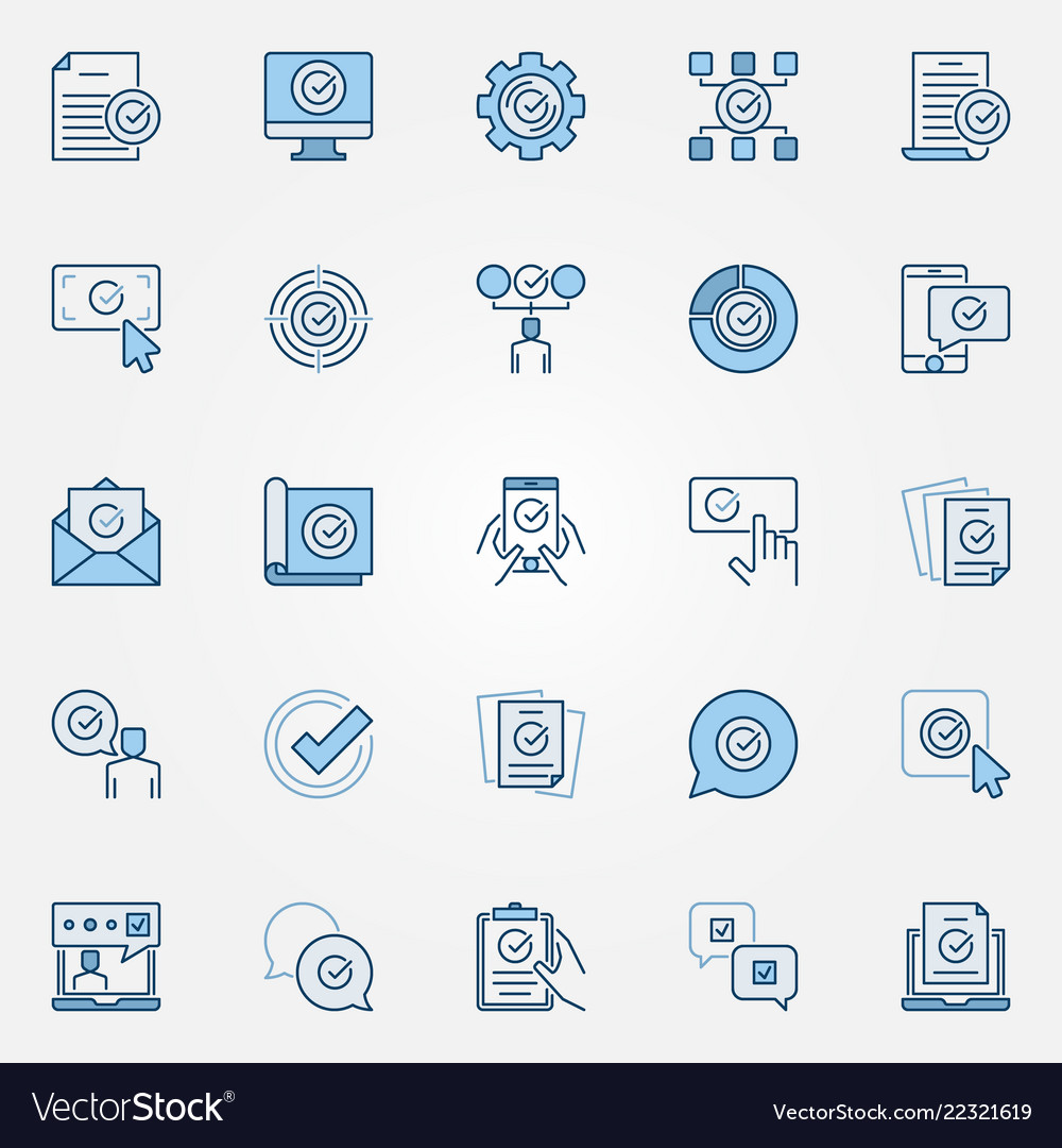 Approve blue icons set approved verified