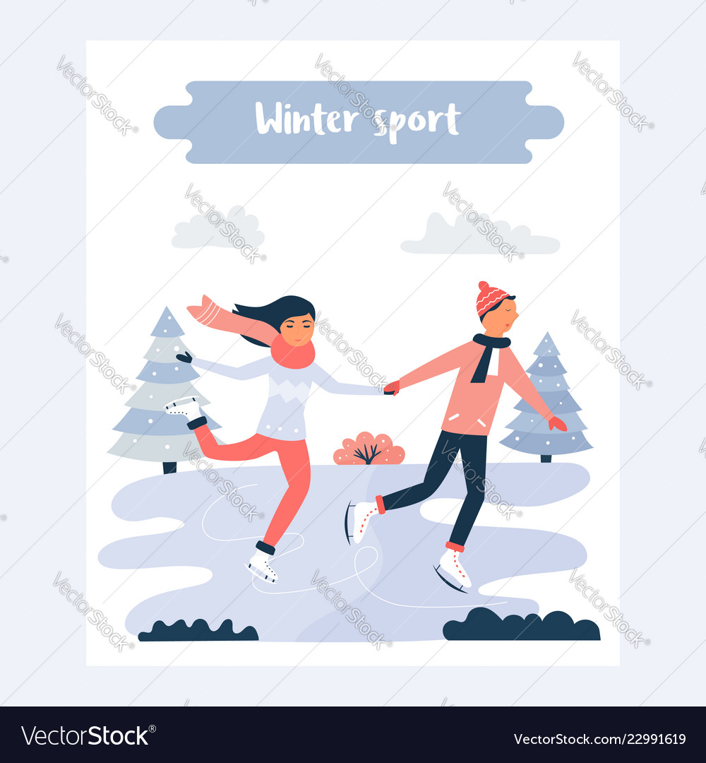 banner template with pretty skating girl and boy vector image