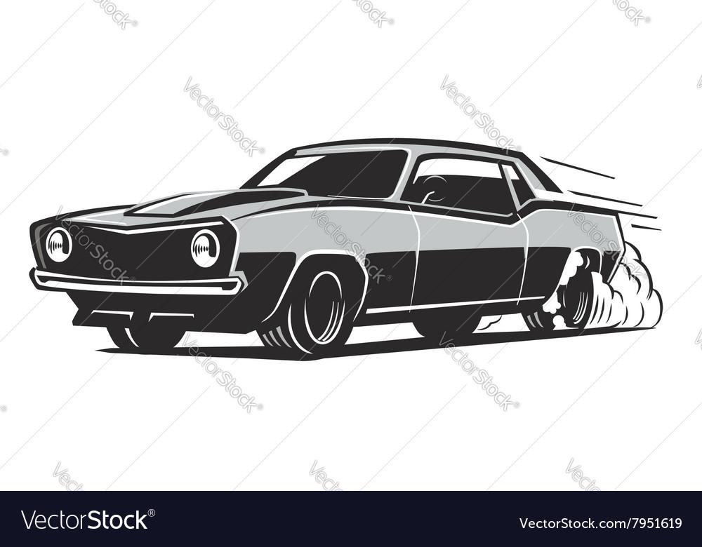 Black Muscle Car Royalty Free Vector Image Vectorstock