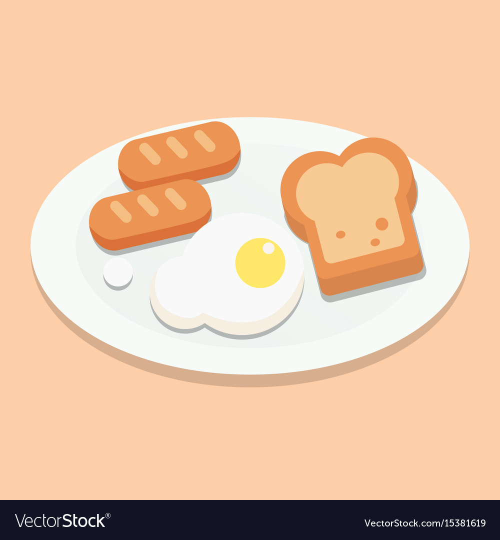 Breakfast with eggsbread and sausages on plate