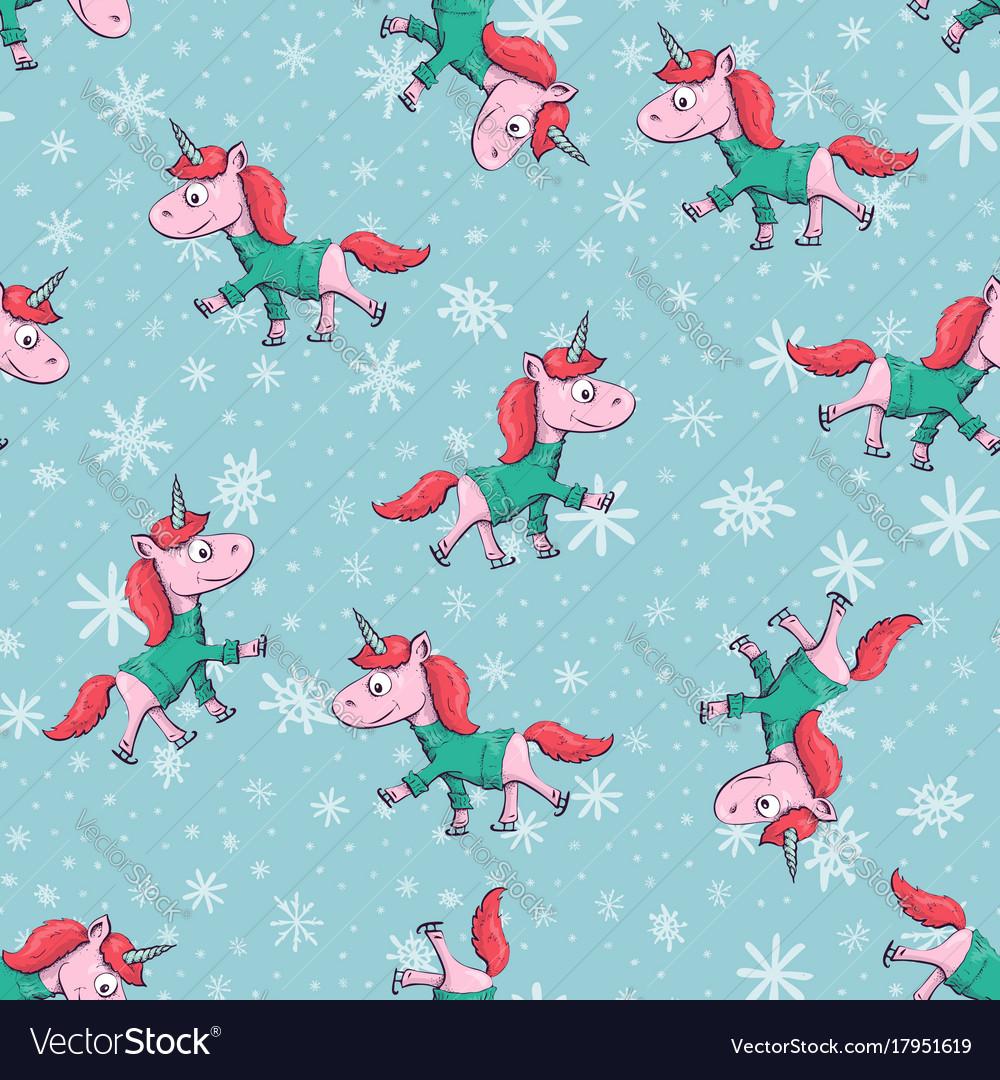 Christmas seamless with unicorn vector image