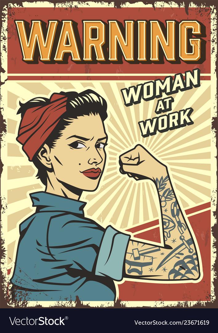 Female power colorful retro poster