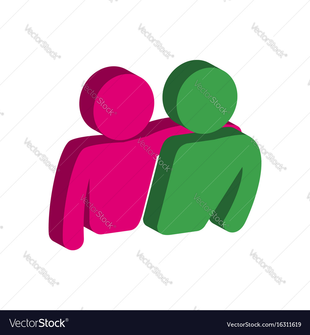 Friends friendship symbol flat isometric icon or
