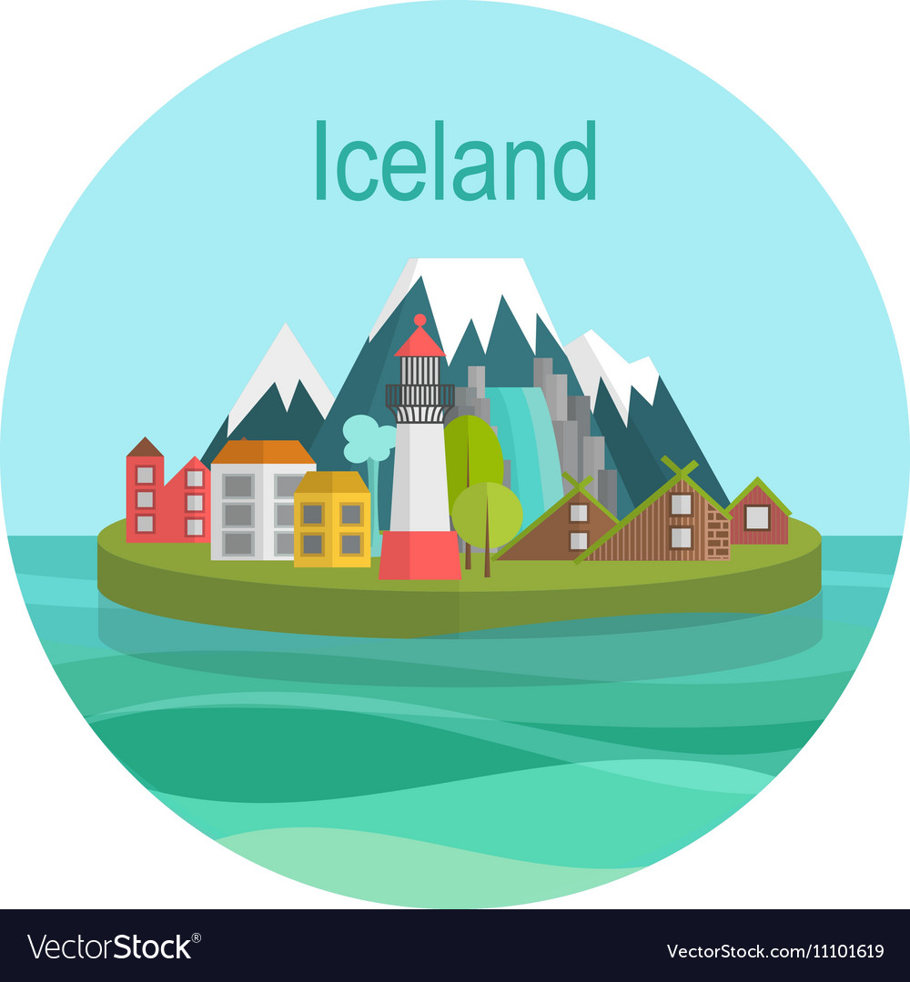 Iceland Landmark Travel vector image