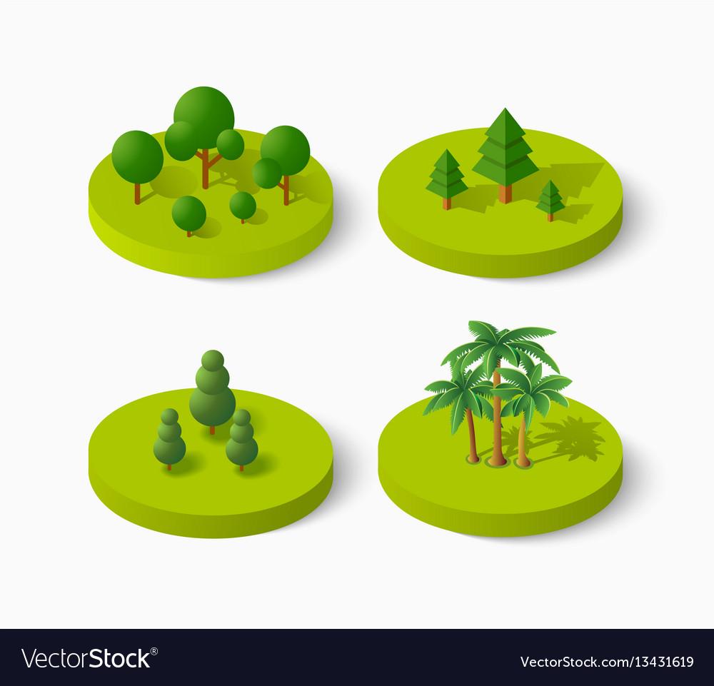 Isometric tree icon set
