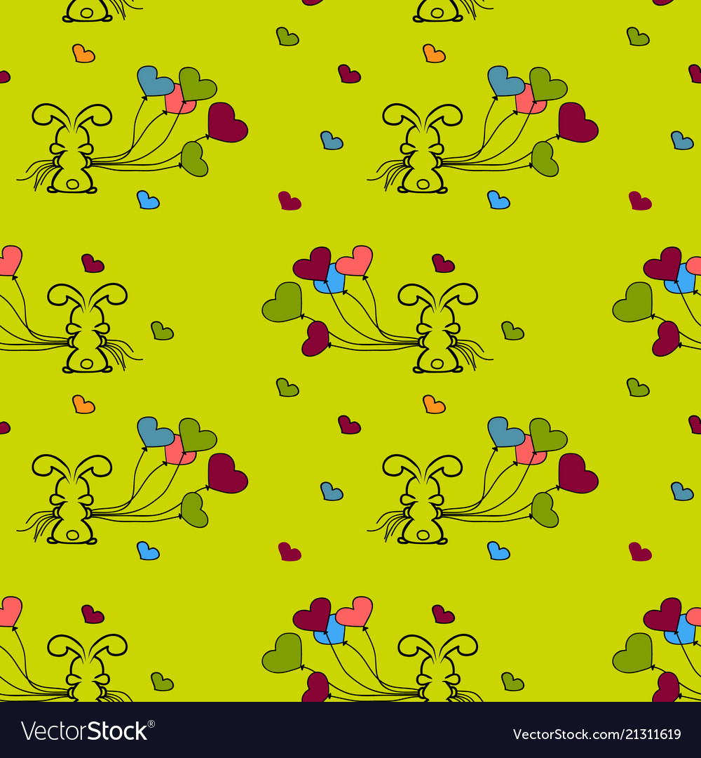 Little bunny and balloons seamless patterns