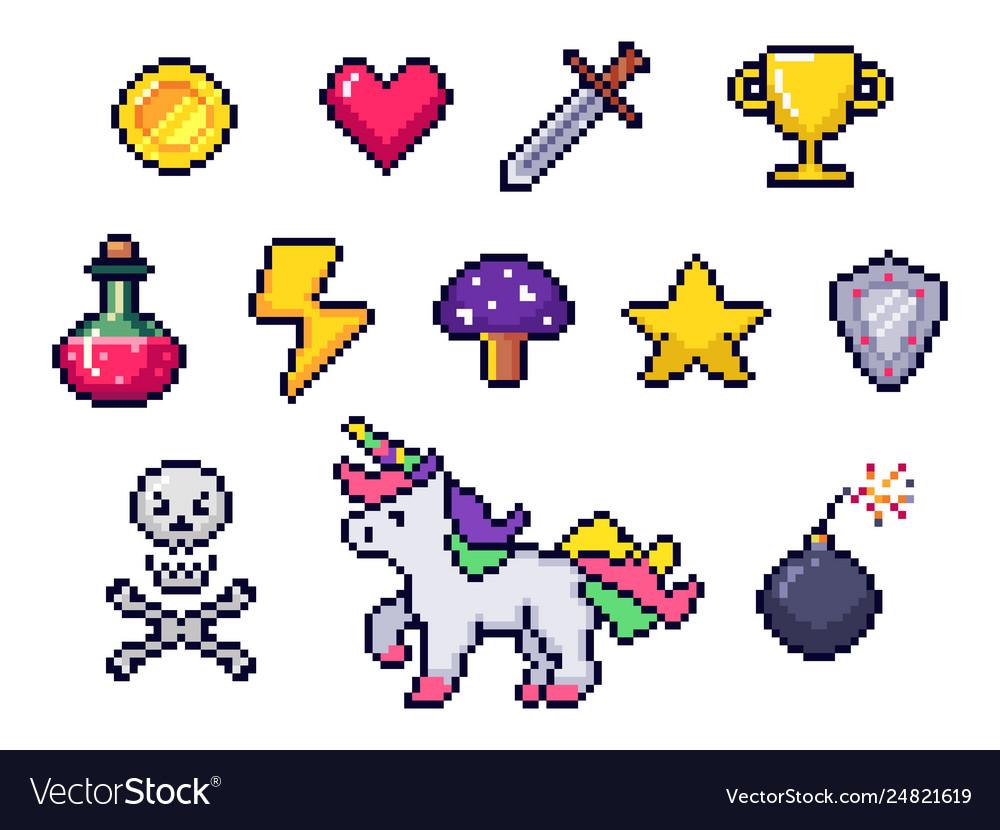 Pixel game items retro 8 bit games art pixelated