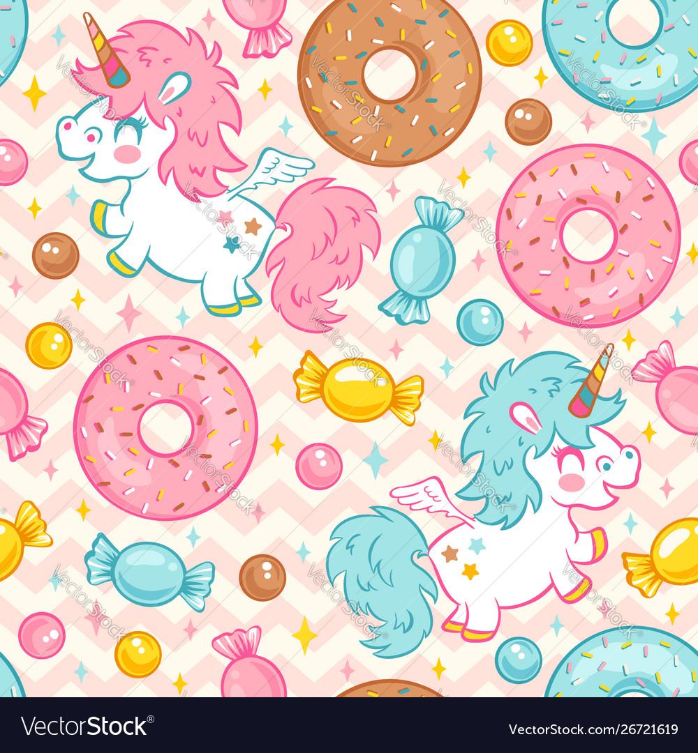Seamless pattern with cute unicorn